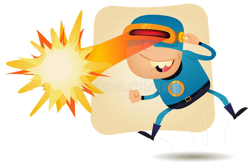 Laser Beam Head - Comic Superhero stock illustration