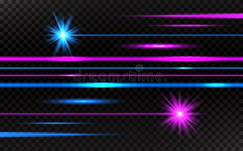 Laser beams set. Pink and blue horizontal light rays. Abstract bright lines on transparent background. Pack of beams on royalty free illustration
