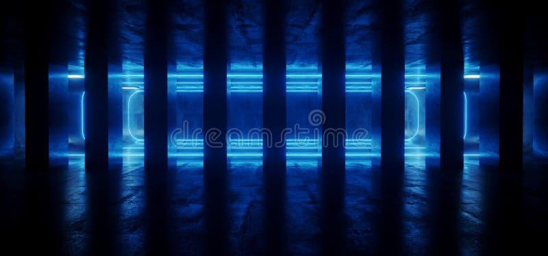 Laser brillant Néon Sci Fi Colonnes de ciment futuriste en béton Bleu vertical Garage foncé vibrant souterrain Rendu 3D illustration stock