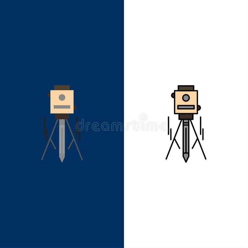 Laser, Building, Construction, Level, Tool  Icons. Flat and Line Filled Icon Set Vector Blue Background royalty free illustration
