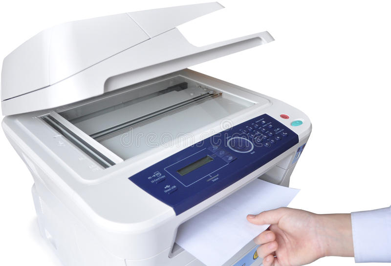 Laser copier and fax. Laser copier and fax on the white background royalty free stock image