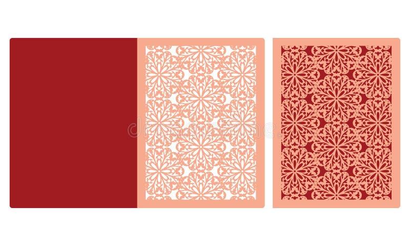 Laser coupant la carte florale de pli de porte de porte Enveloppe d'invitation de mariage Illustration de vecteur Silhouette de c illustration libre de droits