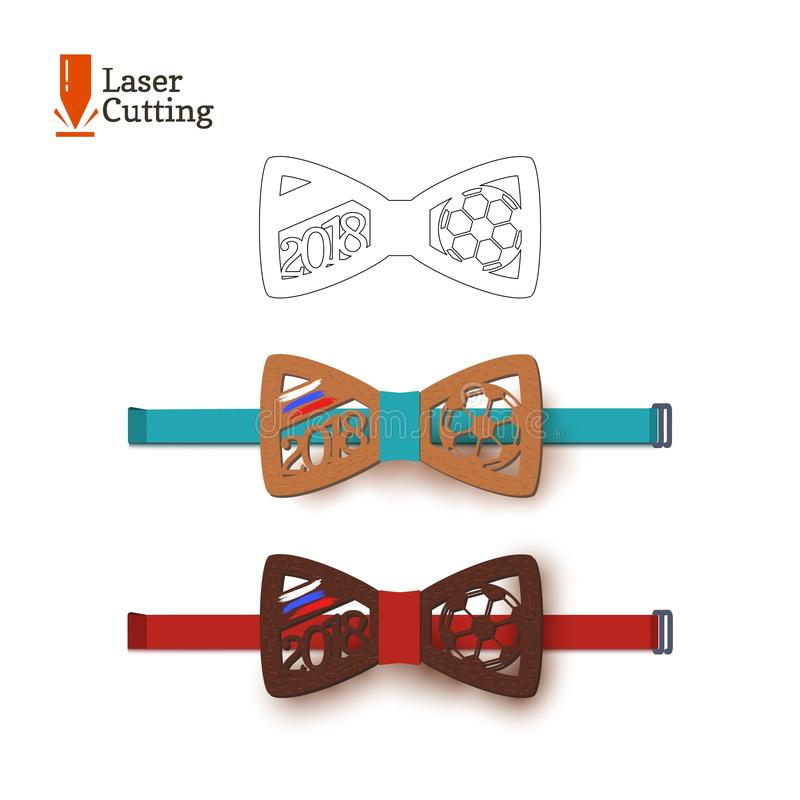 Laser cut bow-tie template souvenir for world football cup 2018 with Russian flag. Vector silhouette for cutting on a vector illustration