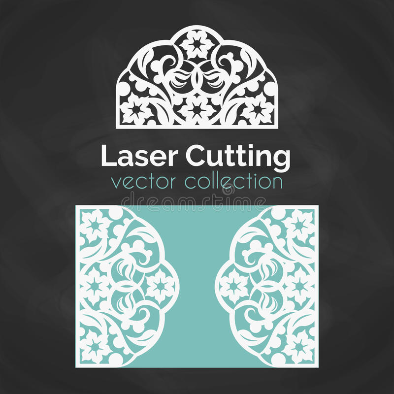 Laser Cut Card. Template For Laser Cutting. Cutout Illustration With Abstract Decoration. Die Cut Wedding Invitation vector illustration