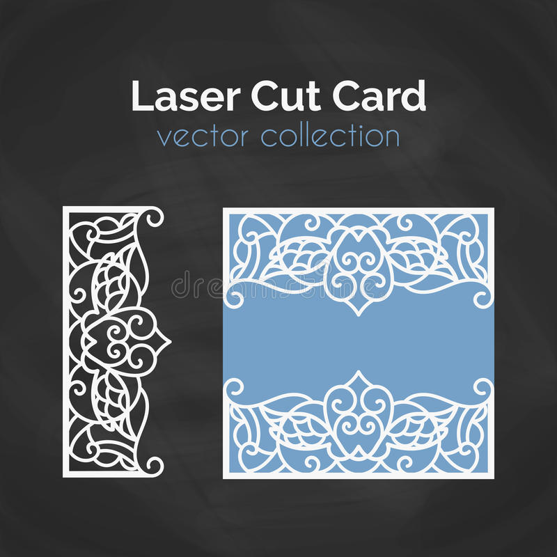Laser Cut Card. Template For Laser Cutting. Cutout Illustration With Abstract Decoration. Die Cut Wedding Invitation royalty free illustration