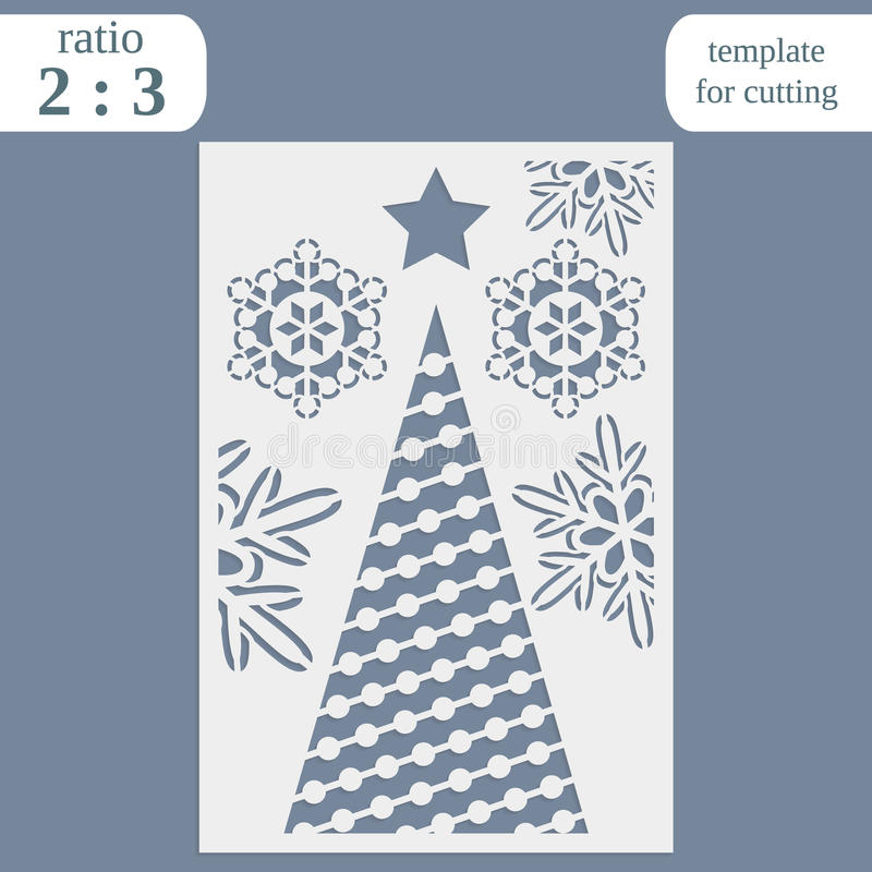 Laser Cut Christmas Invitation Card Template. Cut Out The Paper Card ...