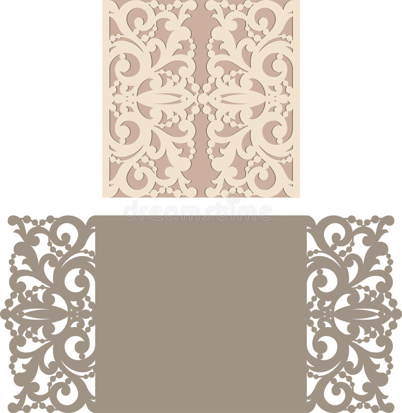 Free Laser Cut Envelope Template For Invitation Wedding Card Royalty Free Stock Image - 73943466