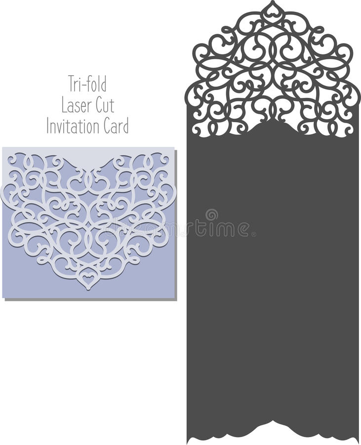 laser cut envelope template for invitation wedding card stock vector illustration of paper. Black Bedroom Furniture Sets. Home Design Ideas