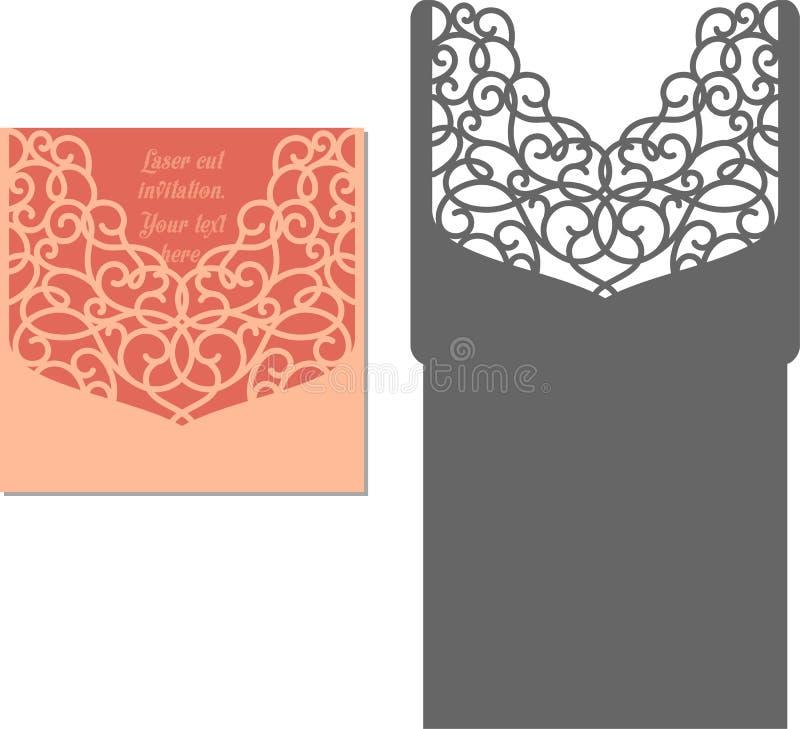 Laser cut envelope template for invitation wedding card royalty free illustration