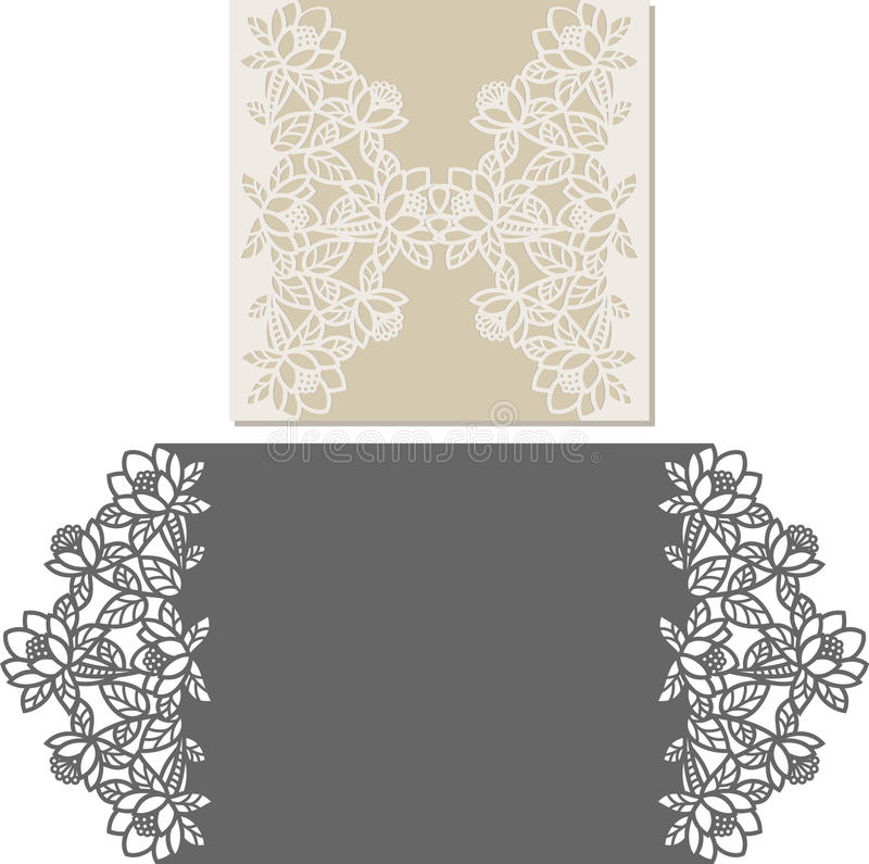 Laser Cut Envelope Template For Invitation Wedding Card Stock Vector