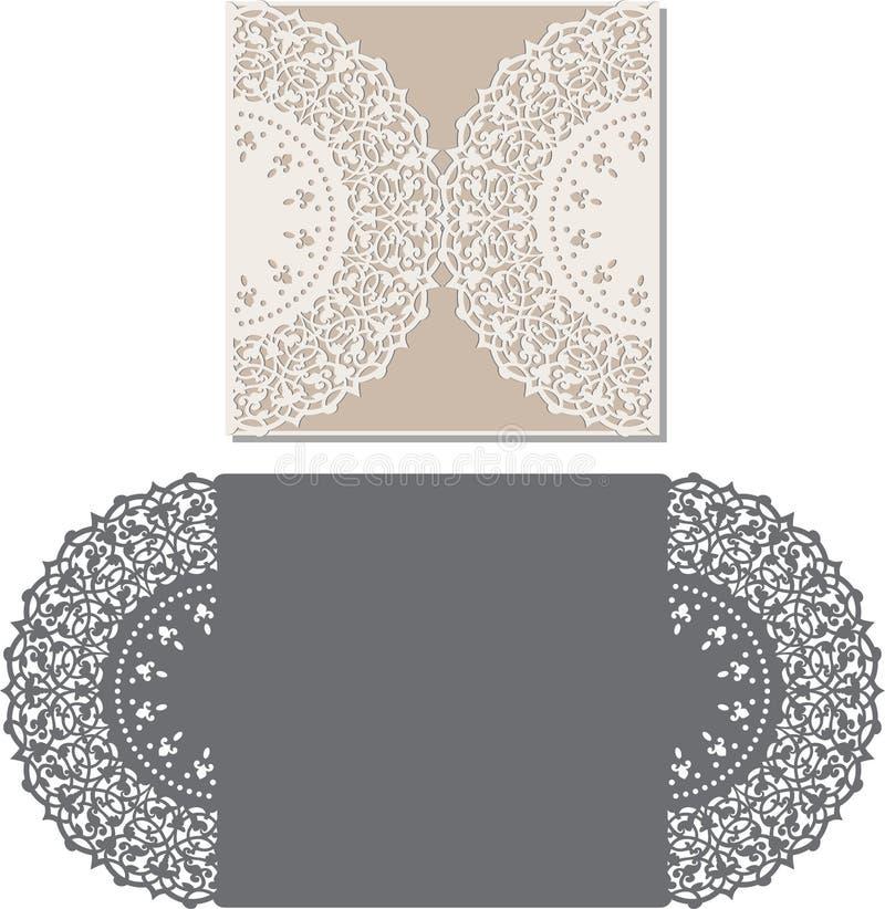 Laser cut envelope template for invitation wedding card stock illustration