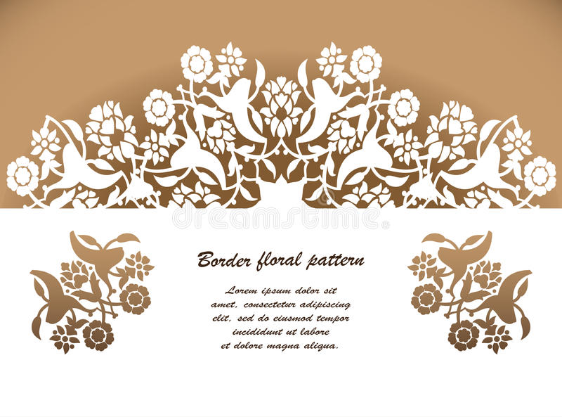 Laser cut floral arabesque ornament pattern vector. Template cut. Ting wedding invitation, greeting card. Silhouette pattern printing, engraving, laser cutting stock illustration