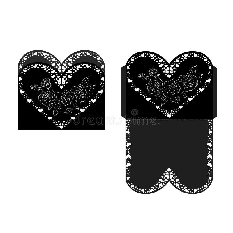 Laser Cut Invitation Card. invitation wedding card. Laser cuttin stock illustration