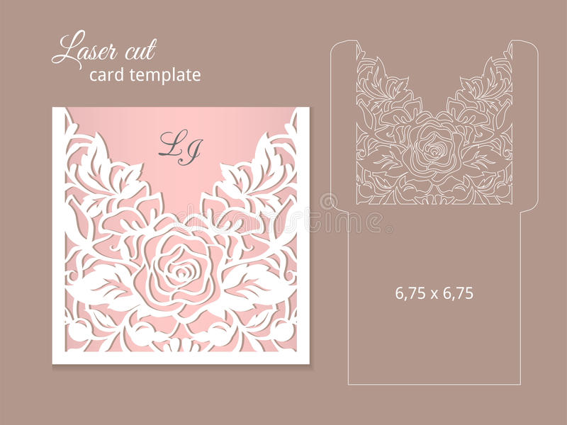 Laser cut invitation card template. Wedding invitation template for laser cutting or die cutting. Die cut paper card with rose flowers stock illustration