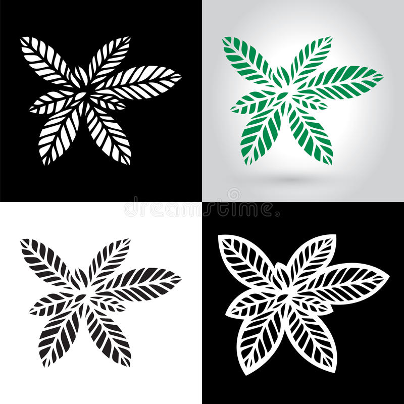 Laser cut leaf logo, cutout paper leaves icon royalty free illustration