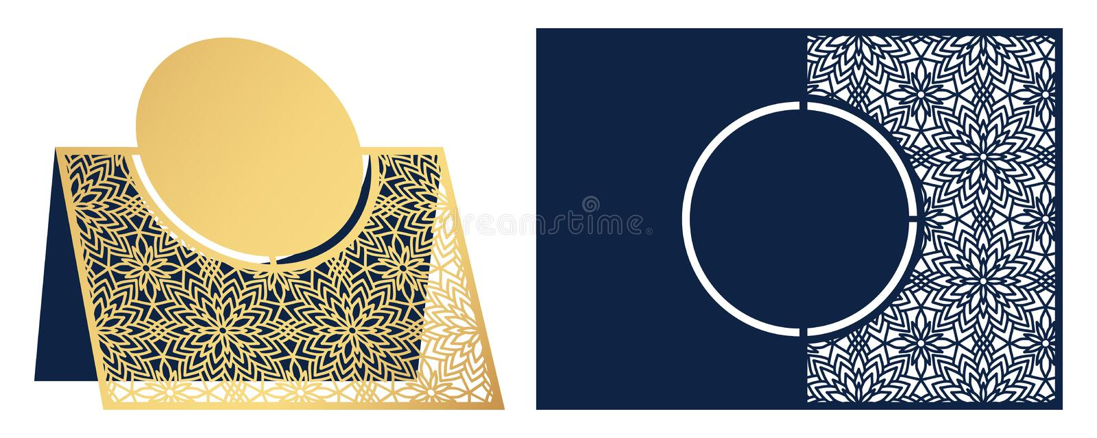 Laser cut ornamental vector template. Freestanding table Number, Name, Place, Wedding seats card, Table guests or dining table ca royalty free illustration