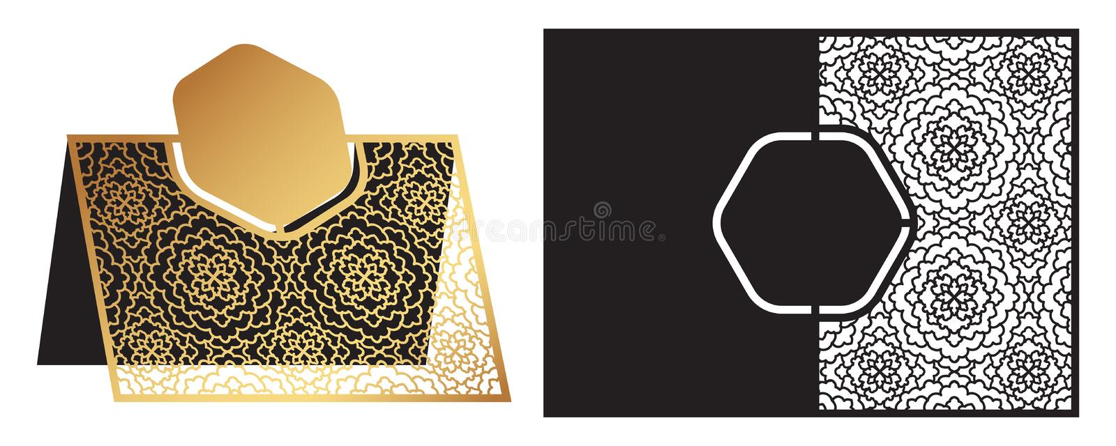 Laser cut ornamental vector template. Freestanding table Number, Name, Place, Wedding seats card, Table guests or dining table ca. Rd, Escort card. Cut Out paper royalty free illustration