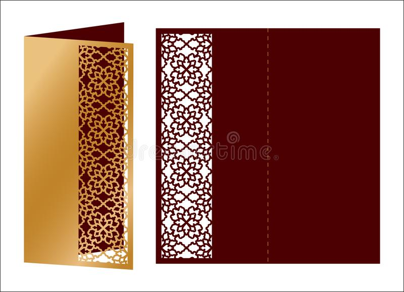 Laser cut ornamental vector template. Luxury Greeting card, envelope or wedding invitation card template. Die cut paper card with vector illustration