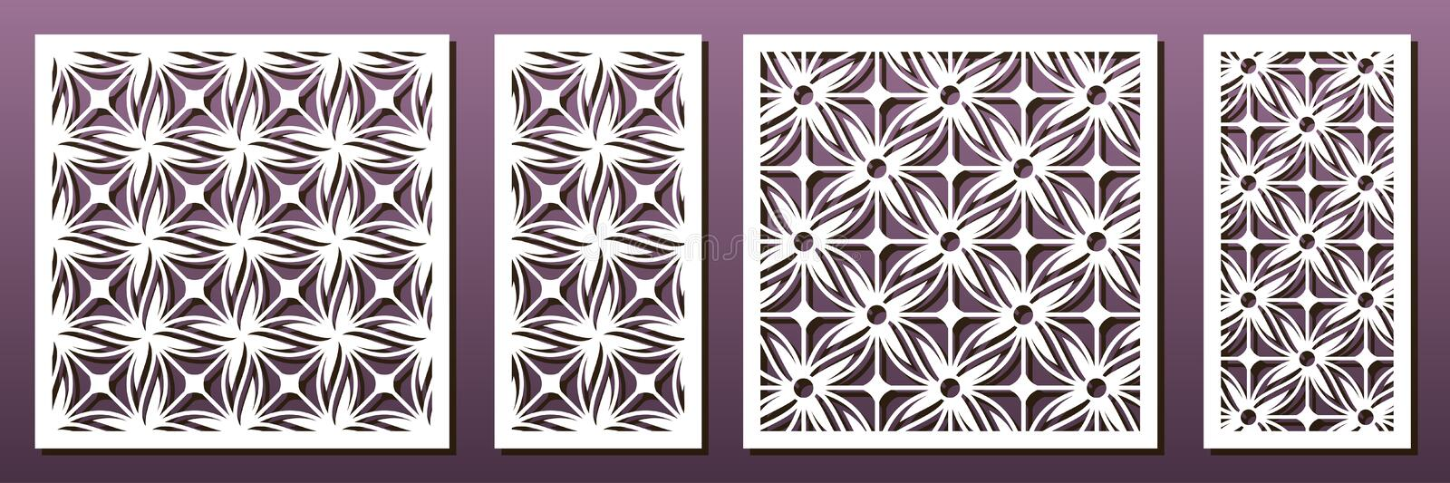 Laser cut pamels template, vector set. Abstract geometric pattern. Stencils, die for metal cutting, paper art, fretwork, wood vector illustration