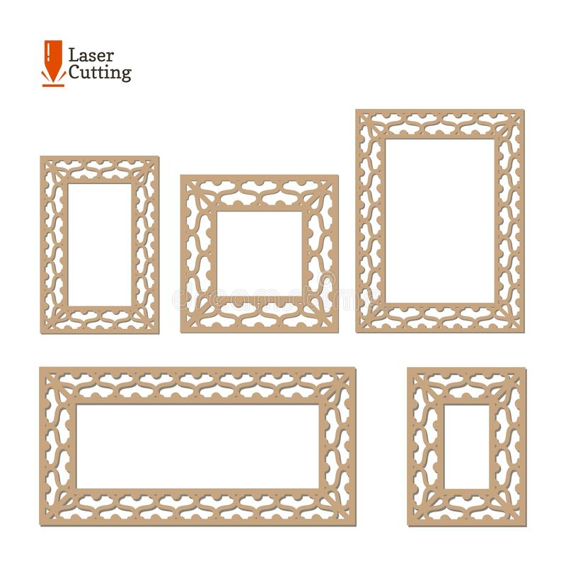 Laser cut panel collection. Vector set frame template for cut on laser machine. Art silhouette design. Vector card illustration fo royalty free illustration