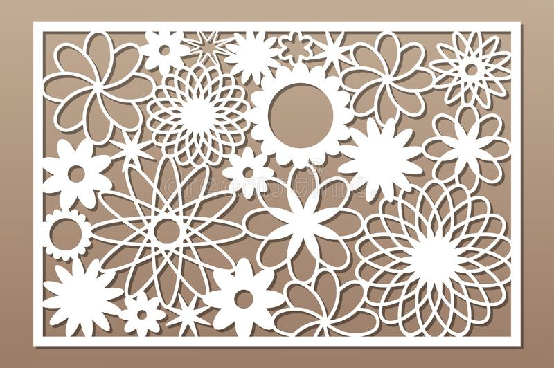 Laser cut panel. Decorative card for cutting. Flower art geometry pattern. Ratio 2:3. Vector illustration.  vector illustration