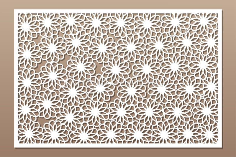Laser cut panel. Decorative card for cutting. Flower Mandala Arabic art pattern. Ratio 2:3. Vector illustration.  vector illustration