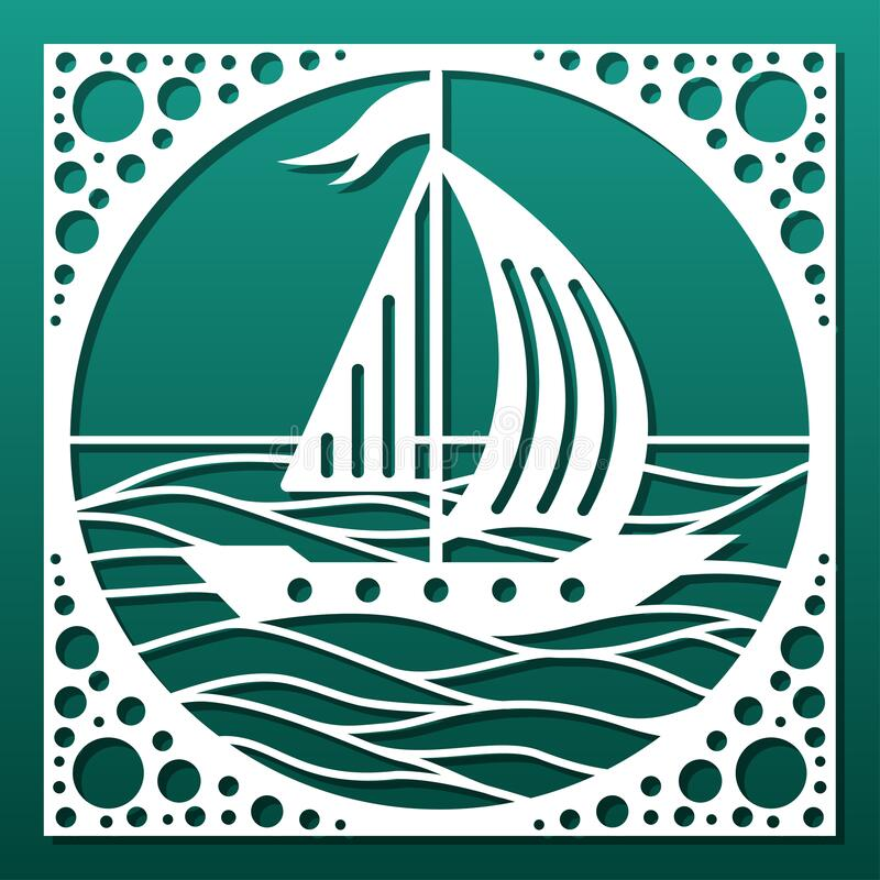 Free Laser Cut Panel Or Decorative Tile, Cnc Cutting Stencil. Sea Waves And Sail Boat Silhouette For Wall Art, Home Interior Design, Royalty Free Stock Photos - 211364578