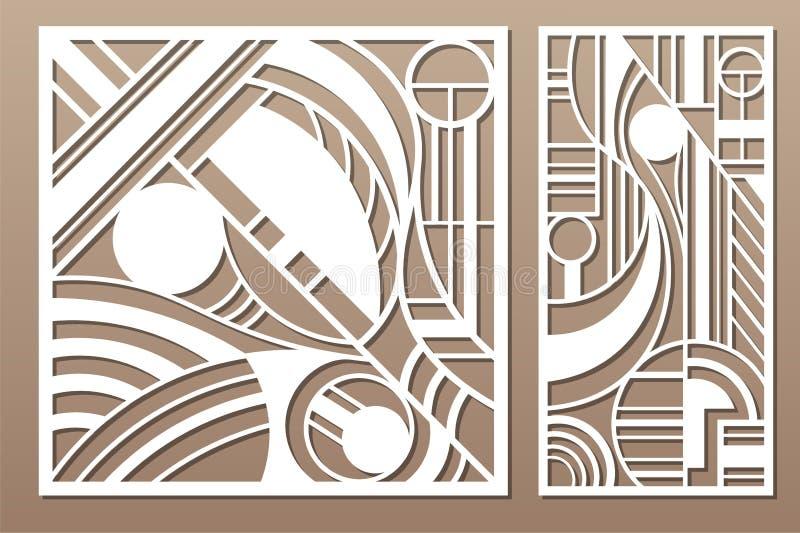 Laser cut panel. Set decorative card for cutting. Geometry line art pattern. Ratio 1:2, 1:1. Vector illustration.  stock illustration