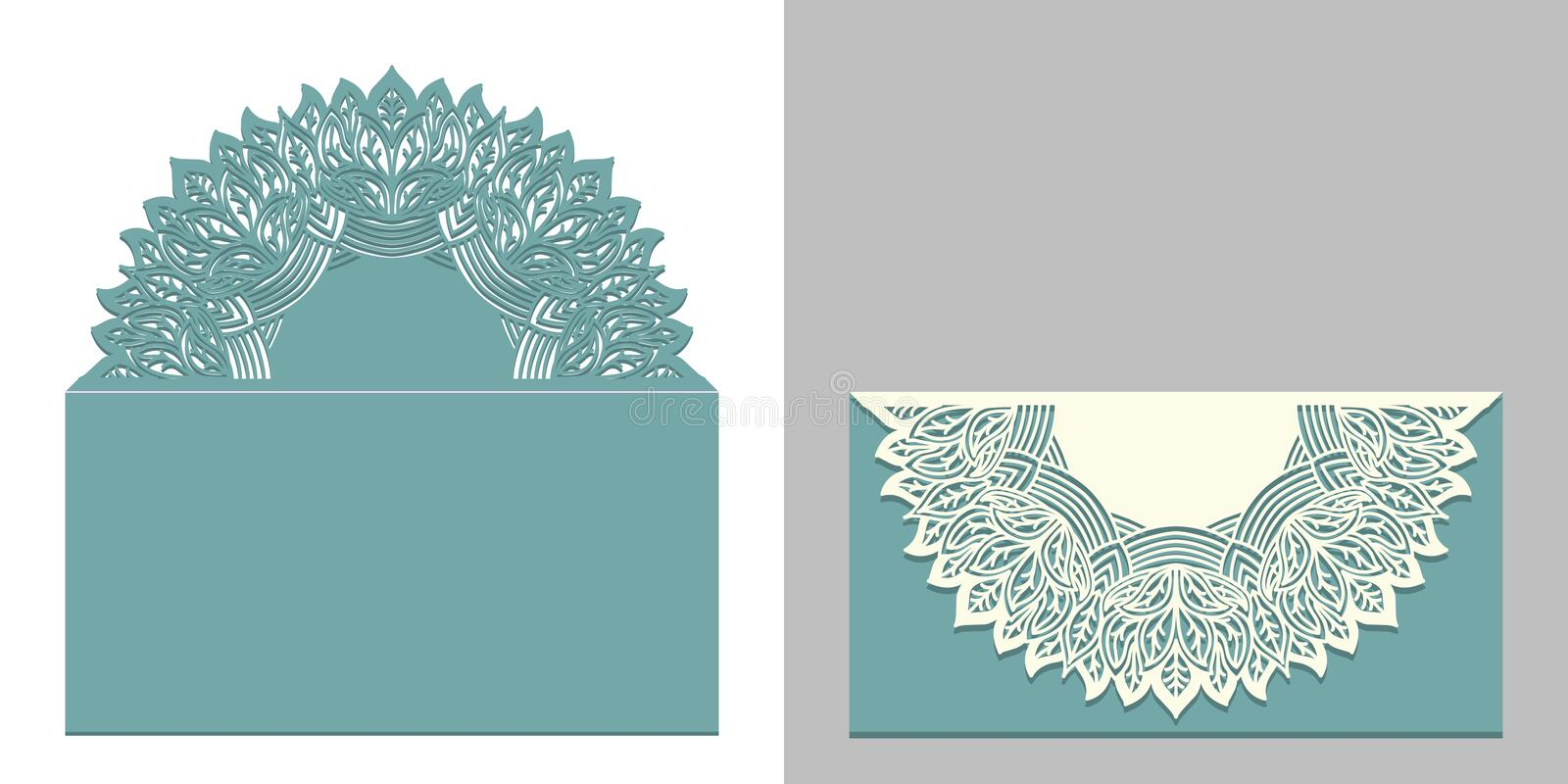 Laser cut paper lace envelope with mandala element. Cutting template for wedding invitation or card designs. vector illustration