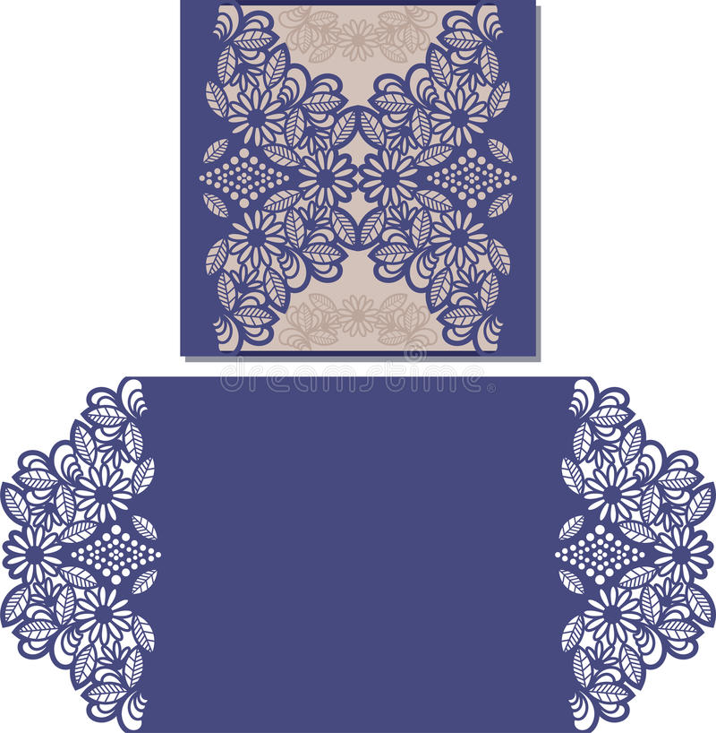 Laser cut pattern for invitation card for wedding royalty free illustration