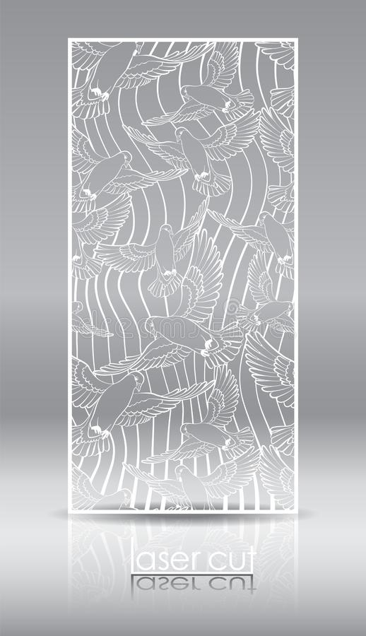 Openwork privacy panel for laser cutting. A through-pattern vinyl board for interior design. Screen, wall, doorway with. A pattern of flying birds. Vector stock illustration