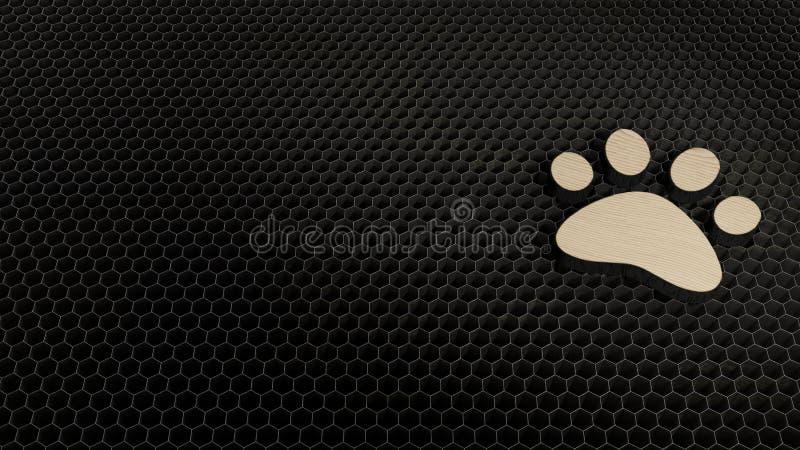 Laser cut plywood symbol of paw. Laser cut plywood 3d symbol of animal paw render on metal honeycomb inside laser engraving machine background stock illustration