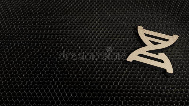 Laser cut plywood symbol of dna. Laser cut plywood 3d symbol of deoxyribonucleic acid model render on metal honeycomb inside laser engraving machine background royalty free illustration
