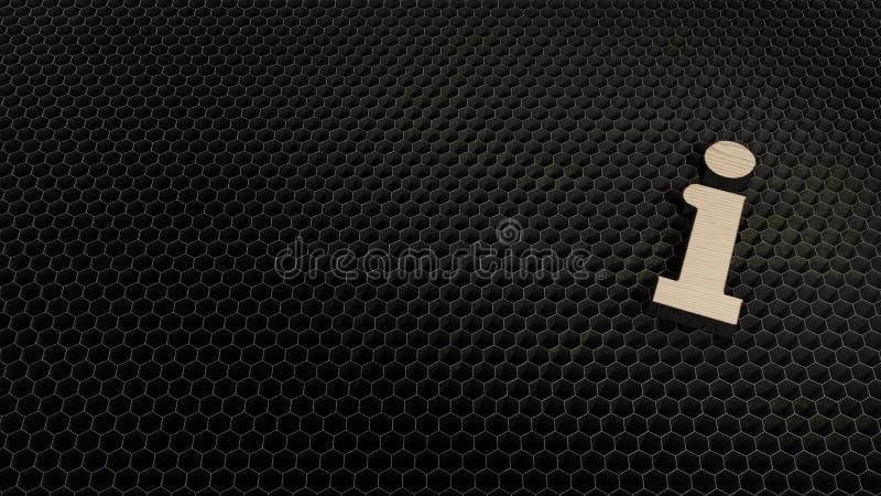 Laser cut plywood symbol of info. Laser cut plywood 3d symbol of information sign   render on metal honeycomb inside laser engraving machine background stock illustration