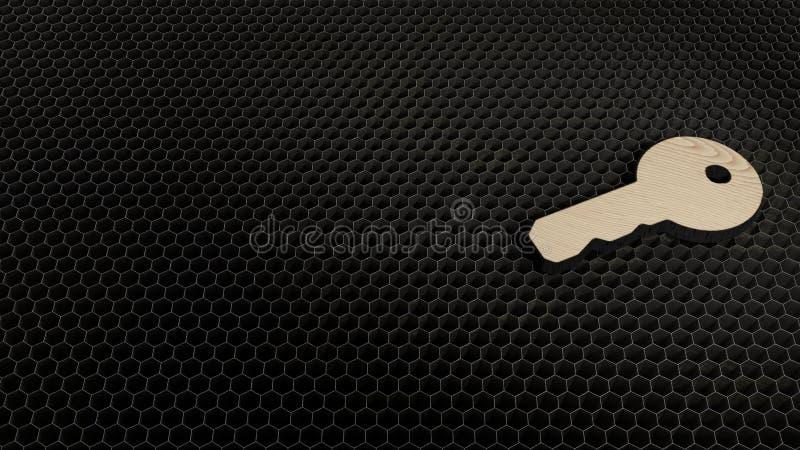 Laser cut plywood symbol of key. Laser cut plywood 3d symbol of key render on metal honeycomb inside laser engraving machine background stock illustration