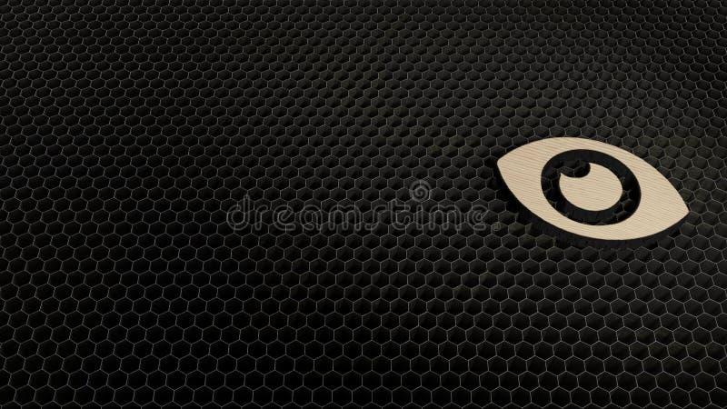 Laser cut plywood symbol of eye. Laser cut plywood 3d symbol of open eye render on metal honeycomb inside laser engraving machine background vector illustration