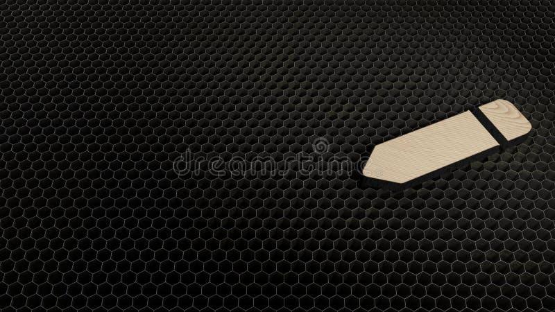 Laser cut plywood symbol of pen. Laser cut plywood 3d symbol of pen render on metal honeycomb inside laser engraving machine background vector illustration