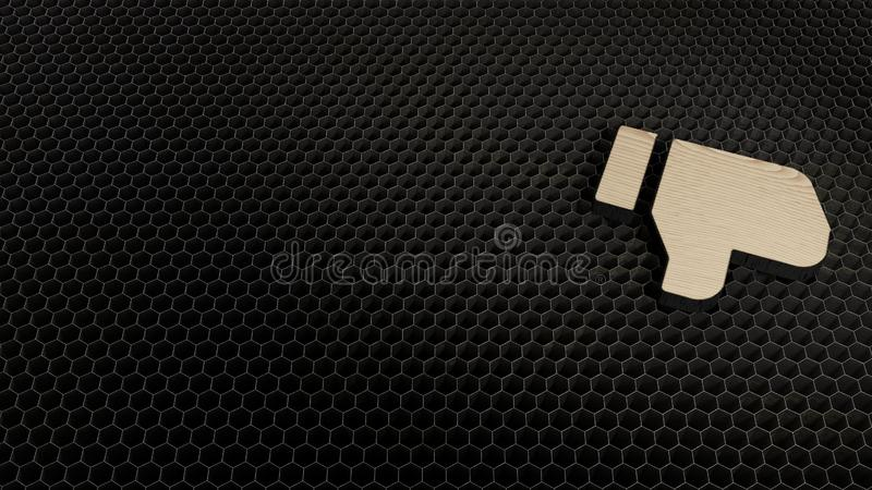 Laser cut plywood symbol of social dislike. Laser cut plywood 3d symbol of thumbs down render on metal honeycomb inside laser engraving machine background royalty free illustration