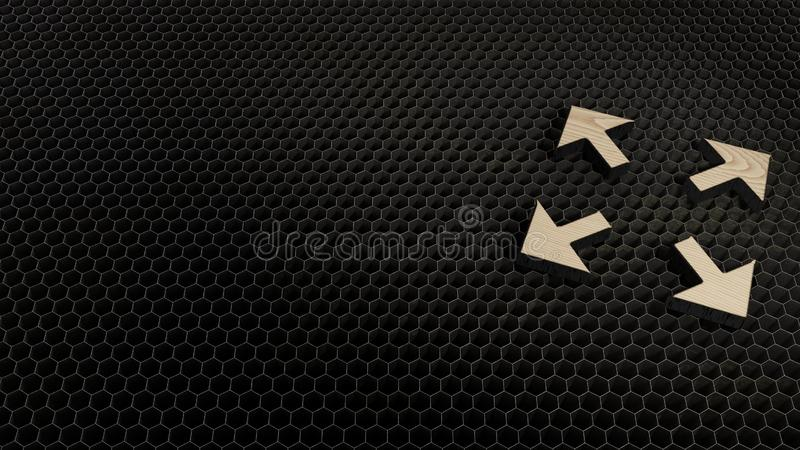 Laser cut plywood symbol of expand. Laser cut plywood 3d symbol of expand render on metal honeycomb inside laser engraving machine background royalty free stock photo