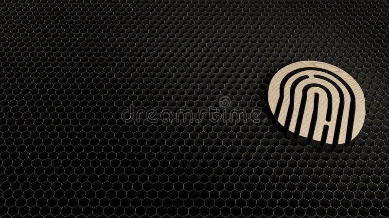 Laser cut plywood symbol of fingerprint09. Laser cut plywood 3d symbol of inverse fingerprint render on metal honeycomb inside laser engraving machine background vector illustration