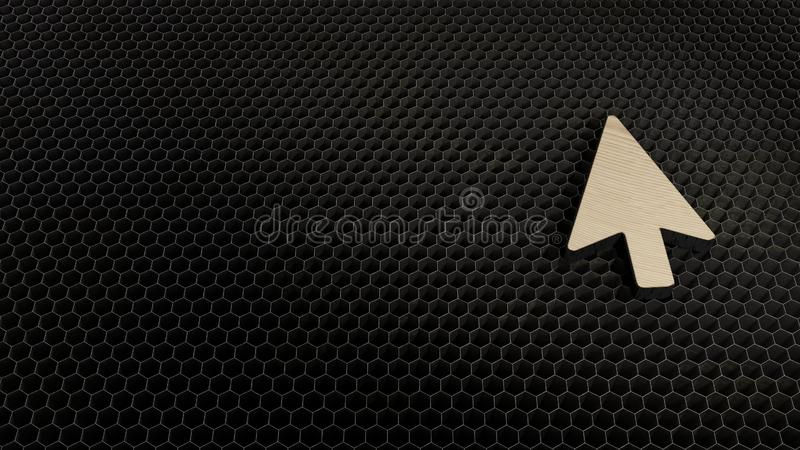 Laser cut plywood symbol of mouse pointer. Laser cut plywood 3d symbol of mouse pointer arrow render on metal honeycomb inside laser engraving machine background royalty free illustration