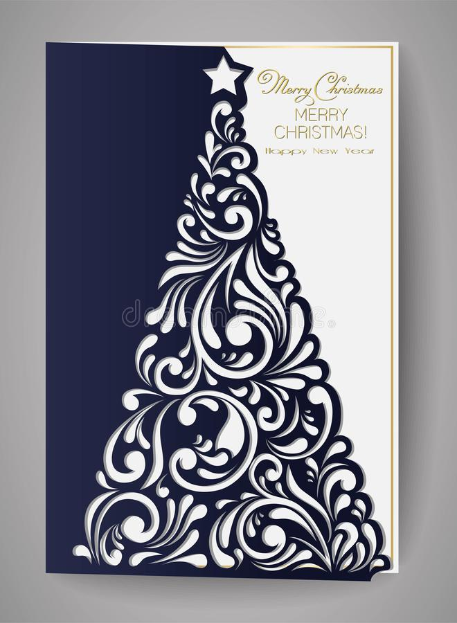 Laser cut template for Christmas cards, square invitation for party with Christmas tree cutout of paper. vector illustration