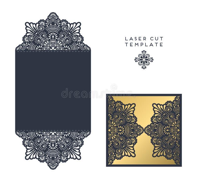 Laser cut template. Envelope, wedding card invitation royalty free illustration