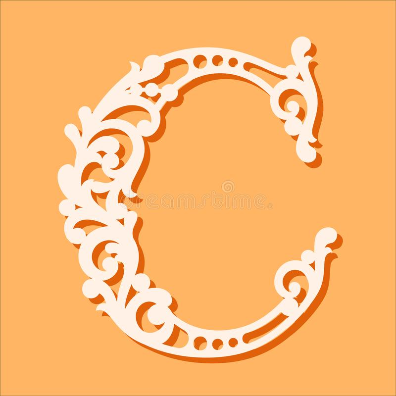 Laser cut template. Initial monogram letters. Fancy floral alphabet letter. vector illustration