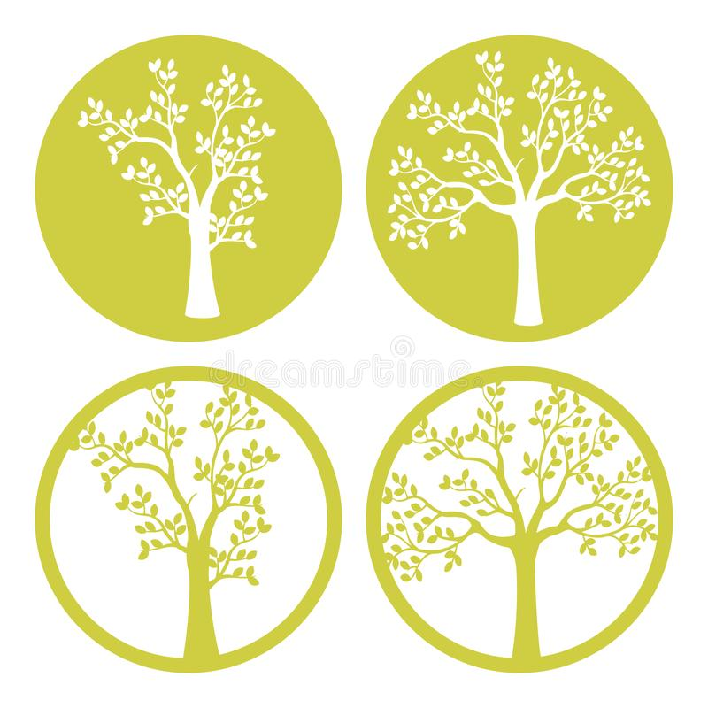 Laser cut. vector design. Laser cutting template tree. paper cutting. plotter and screen printing. Serigraphy stock illustration