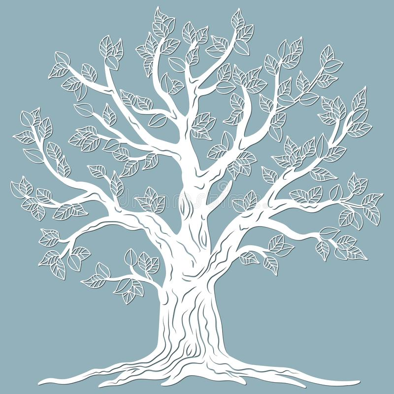 Laser cut. vector design. Laser cutting template tree. paper cutting. plotter and screen printing. serigraphy.  stock illustration