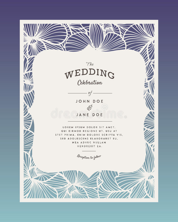 Laser cut vector wedding invitation with orchid flowers for download laser cut vector wedding invitation with orchid flowers for decorative panel stock vector illustration stopboris Choice Image