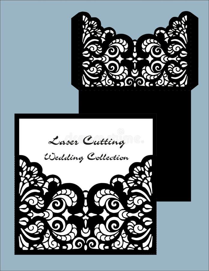 Laser cut wedding card vector template. Invitation envelope. Wedding lace invitation. Template for laser cutting. Die cut pocket stock illustration