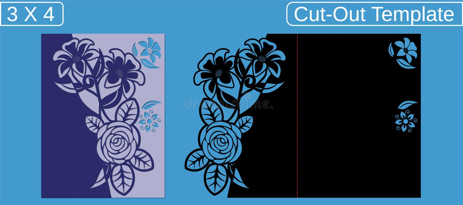 Laser cut wedding invitation card template.  Cut out the paper card with floral pattern.  Greeting card with an aspect ratio of 3 stock images
