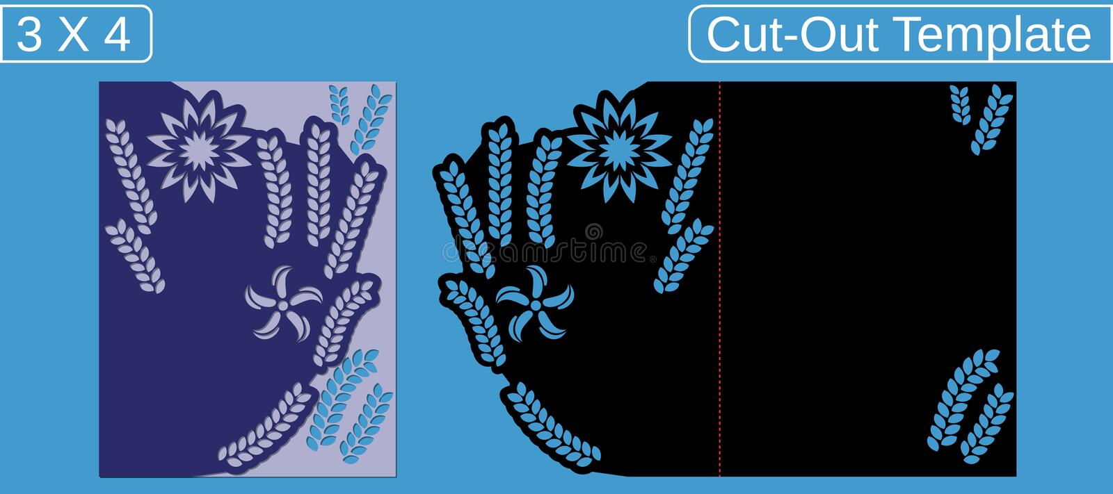 Laser cut wedding invitation card template.  Cut out the paper card with floral pattern.  Greeting card with an aspect ratio of 3 royalty free stock photos